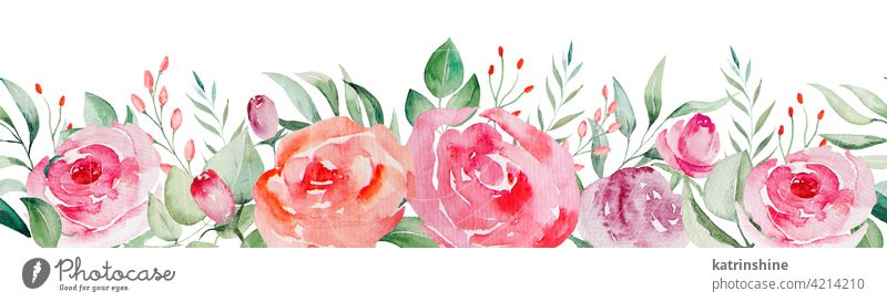 Watercolor pink and red roses flowers and leaves seamless border illustration watercolor buds blush pattern Drawing green Botanical Leaf Hand drawn Ornament
