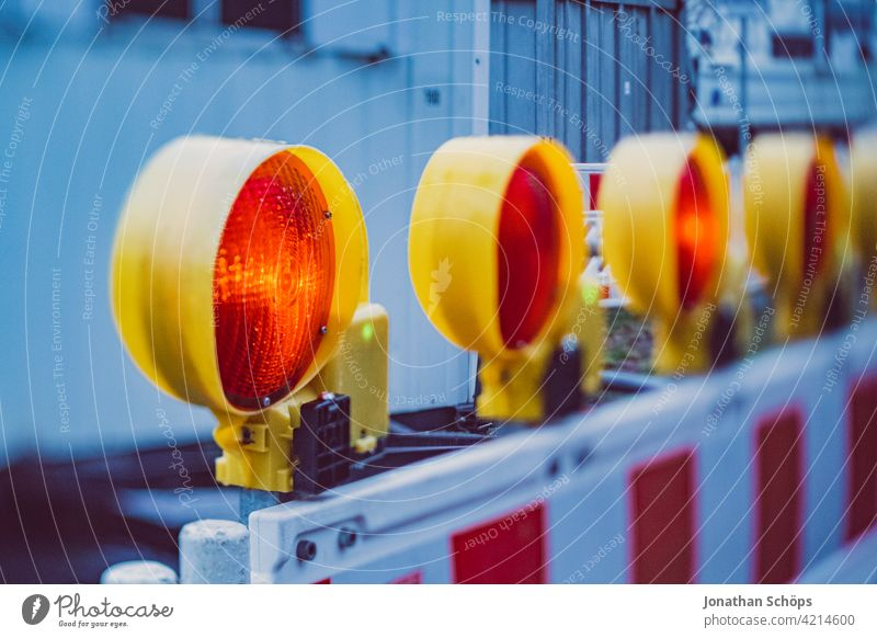 Construction site fence full closure with red lamp cordon Signs and labeling Traffic infrastructure Work and employment Signal signal colour