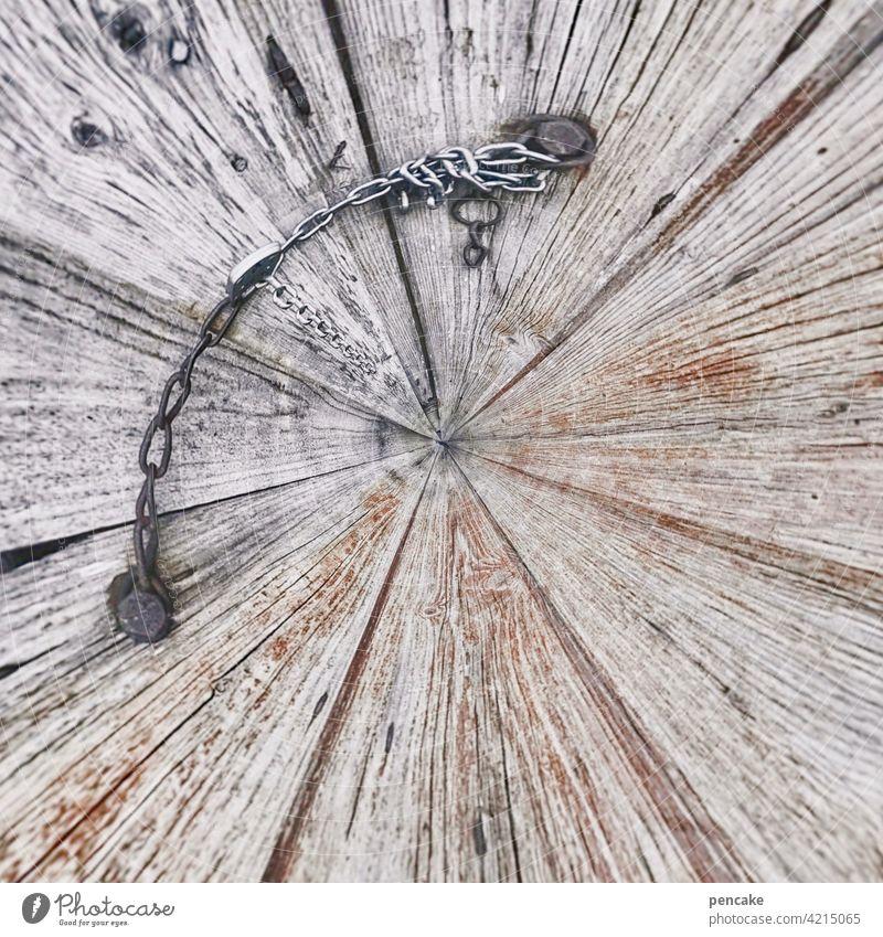 drehwurm Holz Kette geschlossen Holztüre biegen drehen Drehwurm Eisenkette rund Effekt verbiegen alt Fassade Gebäude