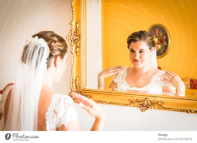 Bride getting ready on her wedding day adult anniversary background beautiful beauty bridal bride caucasian celebration ceremony closeup colorful concept design