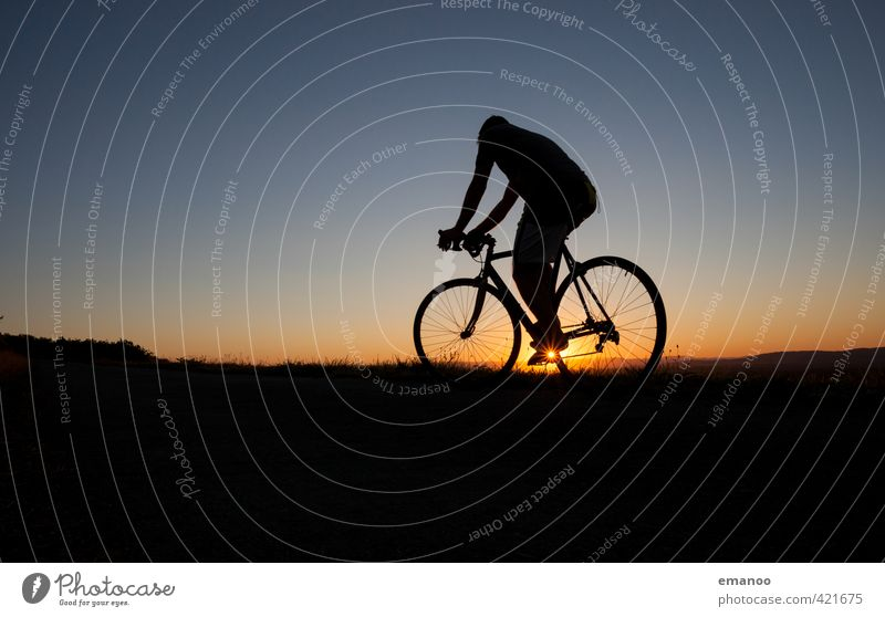 sunset cyclist Lifestyle Leisure and hobbies Vacation & Travel Trip Cycling tour Sports Fitness Sports Training Sportsperson Bicycle Human being Man Adults Body