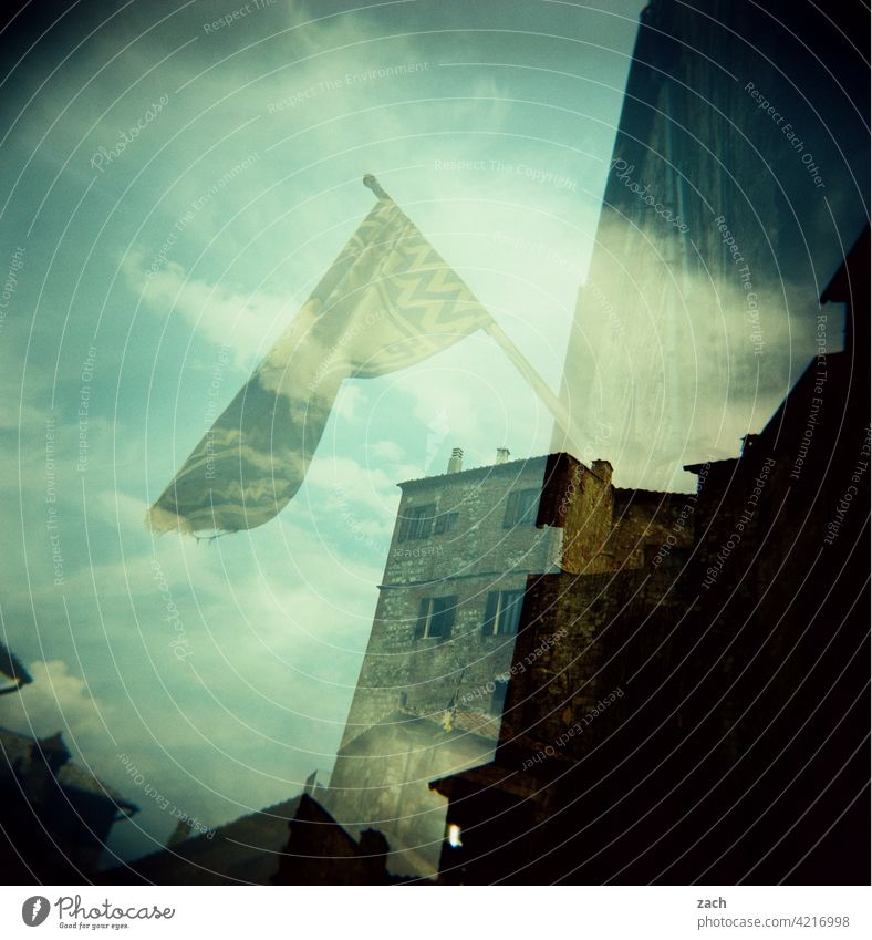 District festival Clouds Sky Tower Old town Architecture Quarter Outskirts House (Residential Structure) Holga Facade Apartment Building Experimental Slide