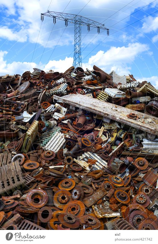 scrap Environment Clouds Beautiful weather Metal Rust Old Dirty Broken Brown Red White Orderliness Lack of inhibition Squander Energy Environmental pollution