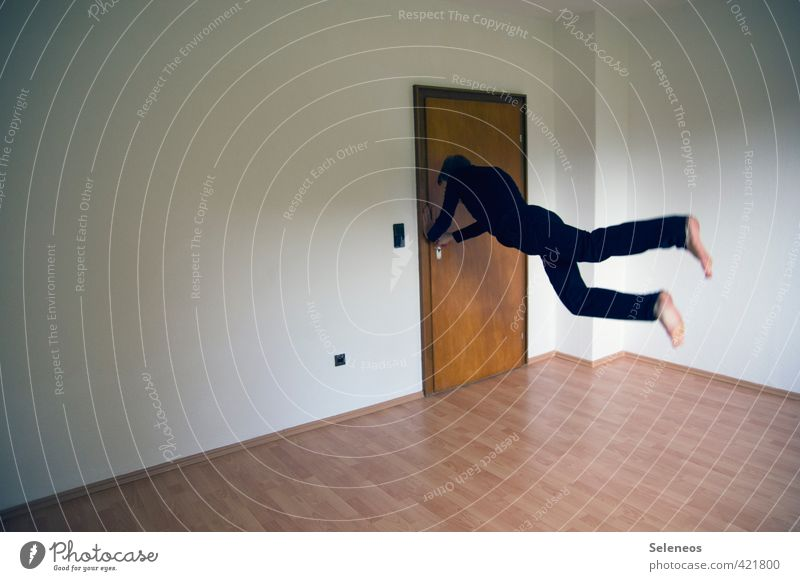 Let's get out of here! Sports Human being Masculine Man Adults 1 Wall (barrier) Wall (building) Door T-shirt Pants Running Flying Jump Athletic Speed Movement