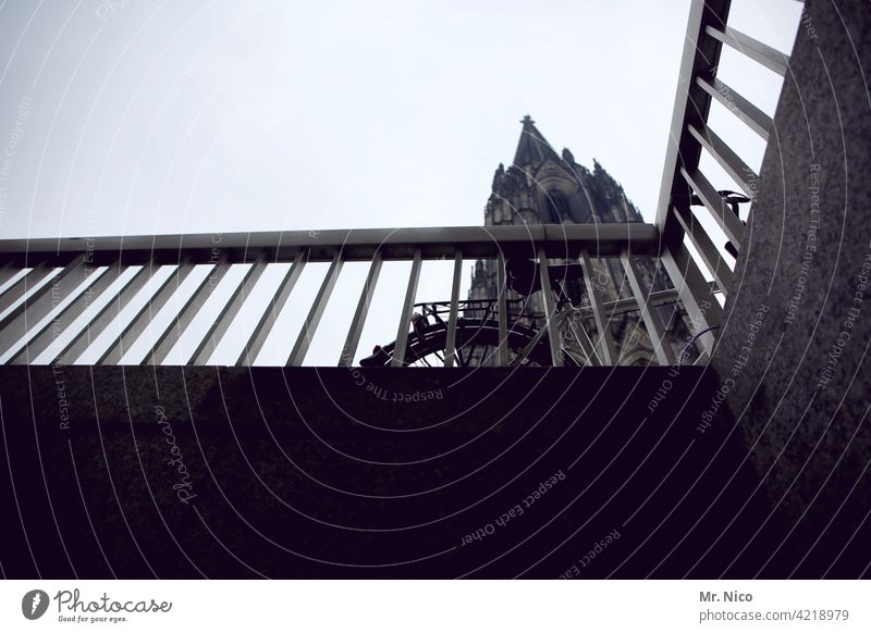 Cologne at the bottom Cologne Cathedral Dome Tourist Attraction Landmark Town Church Religion and faith Sky Manmade structures Architecture Worm's-eye view