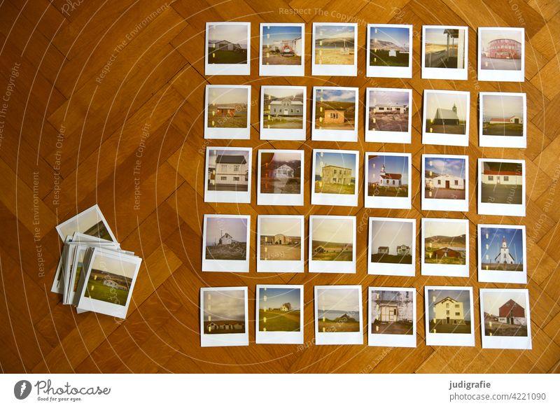 30 Polaroids with Icelandic houses on parquet floor Arrange Collection Landscape Hut Living or residing Building Colour photo Church Parquet floor dwell