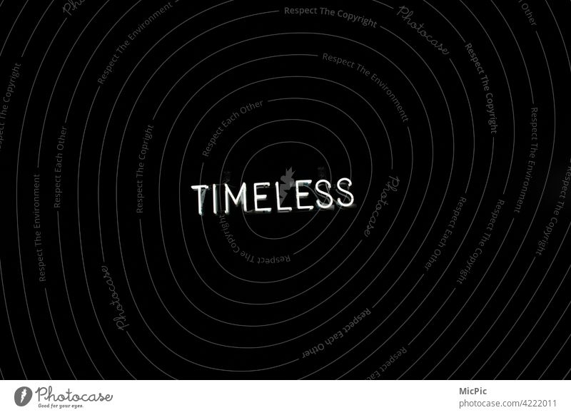 Timeless - letters on black background Letters (alphabet) neon sign White Black Card Minimalistic void timeless design Design Abstract Illustration