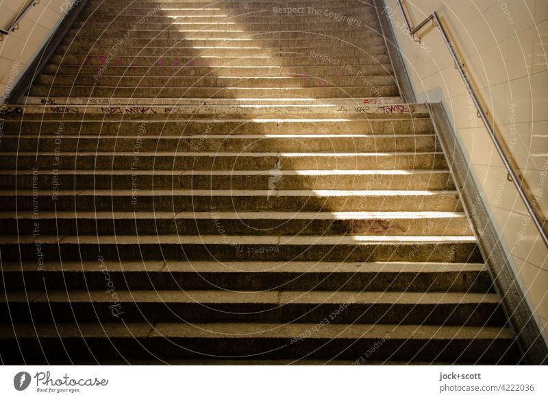 Light beam step by step Stairs Gloomy Architecture Concrete Abstract Beam of light Visual spectacle Structures and shapes Symmetry Shadow Lanes & trails