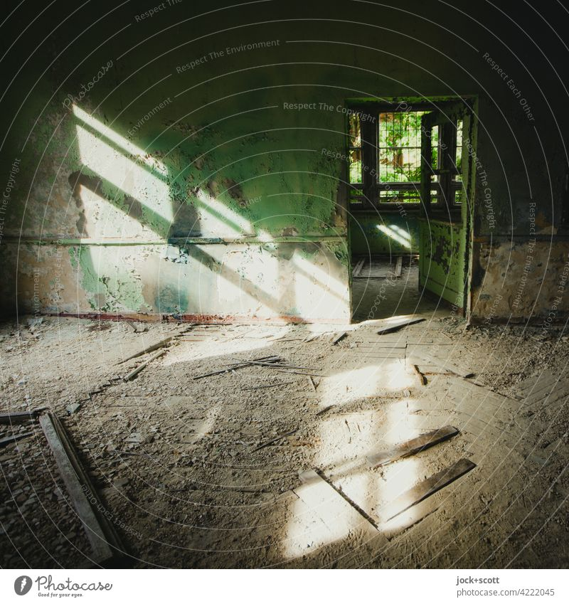 light hitting a lost space Room rubbish Shaft of light Dirty Apocalyptic sentiment Transience lost places Sanitarium Sunlight Derelict Ravages of time Ruin