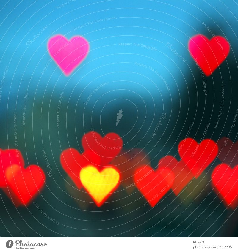love love love Heart Flying Emotions Moody Love Infatuation Romance Street lighting Red Rose glasses Illuminate Heart-shaped Background picture Blur