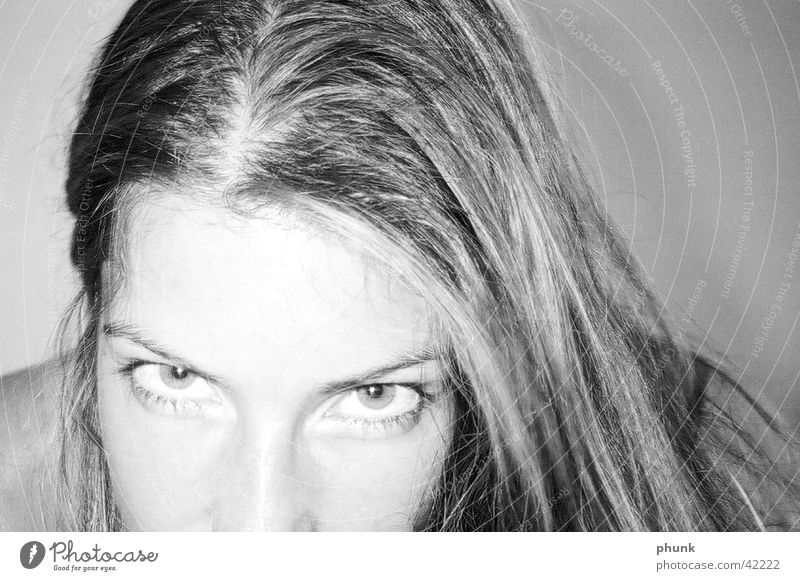 lovely Woman Feminine Challenging Looking Eyes Partially visible Hair and hairstyles Black & white photo