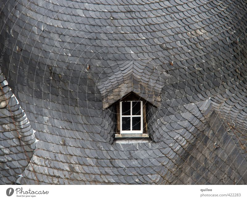 skylight Architecture Window Roof Roofing tile Stone Concrete Old Sharp-edged Gray Black White Calm Loneliness Esthetic Uniqueness Perspective Town Slate
