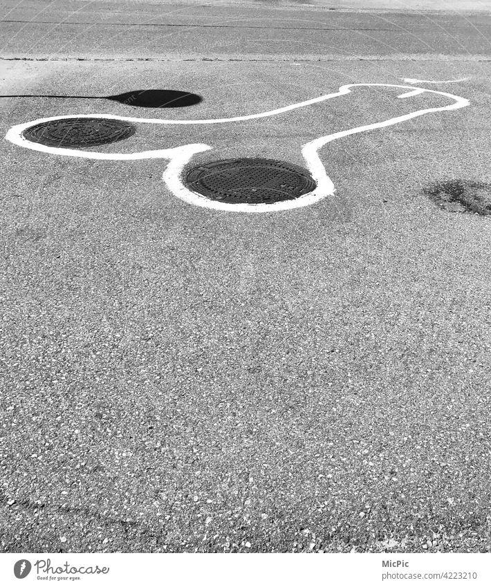 Streetart black and white street painting street art street style Graffiti Art urban Street art fallus Penis Funny manhole cover Black & white photo wittily