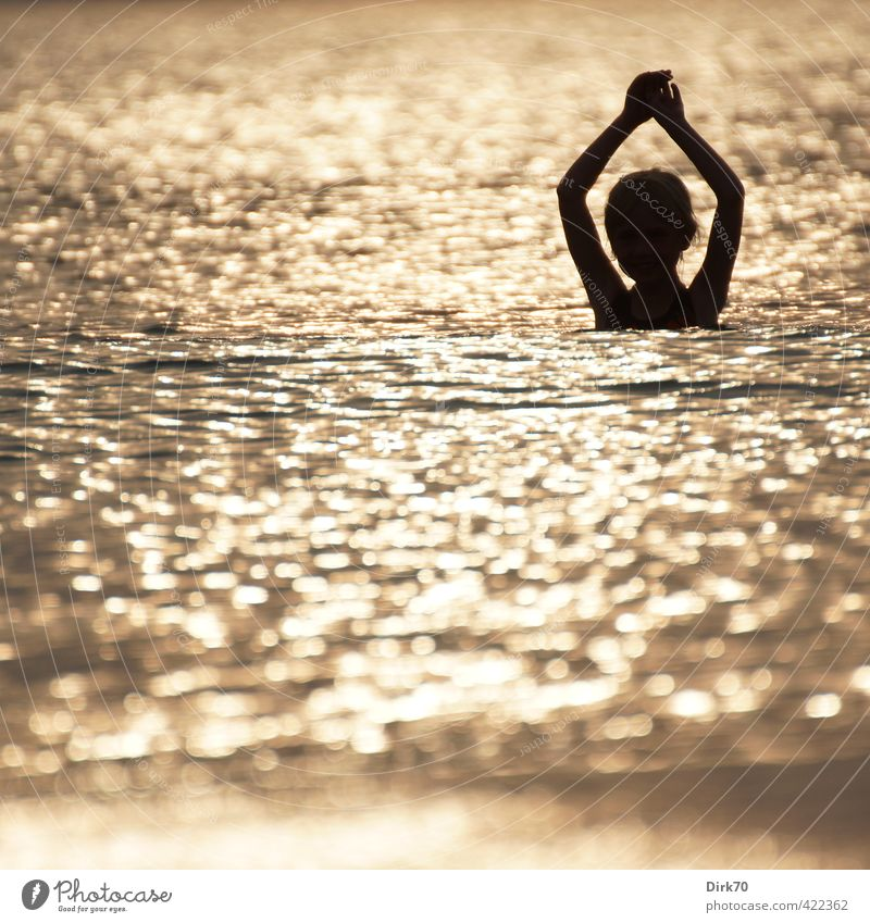 Sunset bath Vacation & Travel Tourism Summer Summer vacation Beach Ocean Waves Swimming & Bathing Human being Girl Infancy 1 3 - 8 years Child Water Sunrise