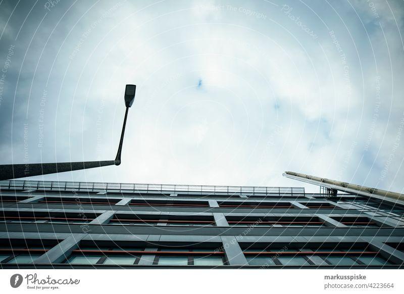 Office facade Facade Cladding facade design Glass construction Office building facade street lamps Lighting Sky