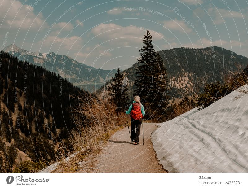 Young woman hiking on the Hochmiesing | Soinsee closeness to nature outdoor soinsee Hiking bavarian cell Upper Bavaria Alps mountains Spring Peak Sky Clouds