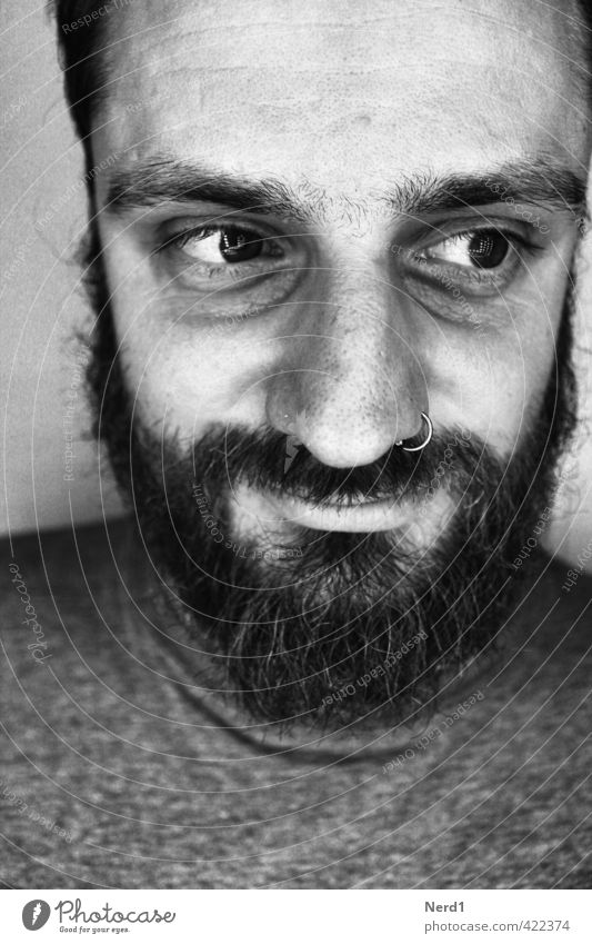 Happy/Sad Man Adults Black-haired Facial hair Apocalyptic sentiment Disappointment Experience Expectation Sadness Black & white photo Studio shot