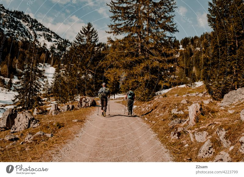 Hiking on the Hochmiesing | Soinsee closeness to nature outdoor soinsee bavarian cell Upper Bavaria Alps mountains Spring Peak Sky Clouds warm colors Idyll Snow