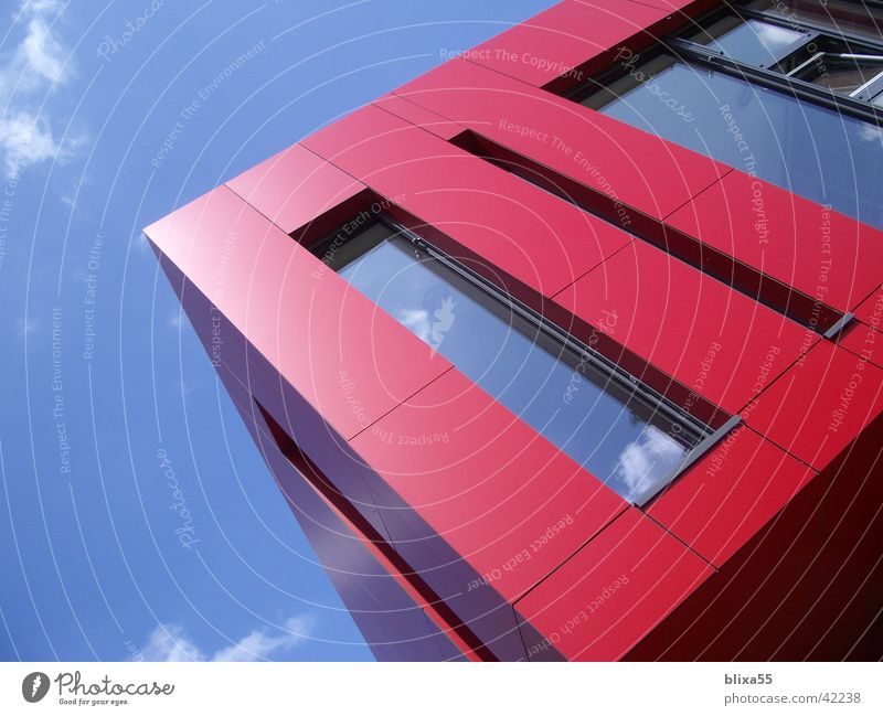 Red balconies House (Residential Structure) Balcony Shadow play Summer's day Observe Architecture red facade