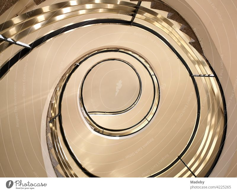 Spiral staircase in a listed building from the fifties in the West End of Frankfurt am Main in Hesse staircases Staircase (Hallway) Banister Winding staircase