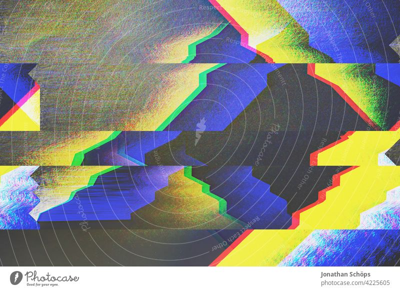 geometric shapes with glitch effect Deserted Colour photo Anaglyph Error variegated background Digital Pattern Breakdown pixelart cues Electronic vibration