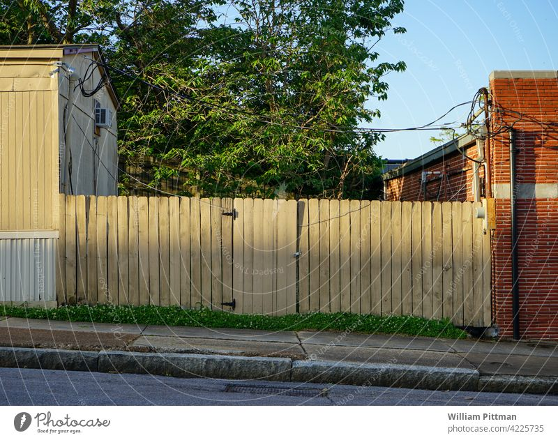 Wood Fence Street Wooden fence Exterior shot Colour photo Day Deserted Garden fence Banal Wooden board Fence post no people Empty vintage