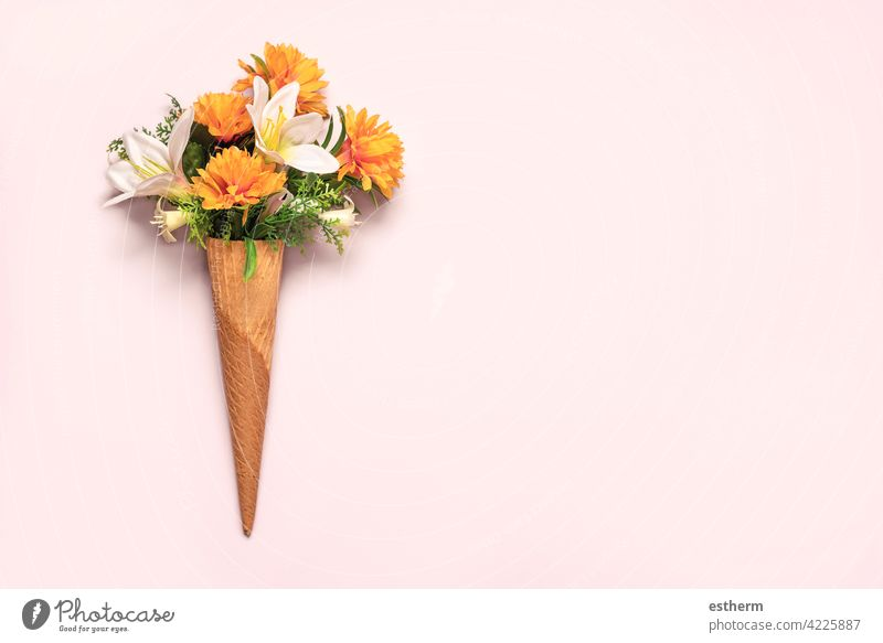 ice cream cone with flowers with copy space springtime sweet leaves green flora romance Mother's Day above plant summer florist gift flourish mommy mother