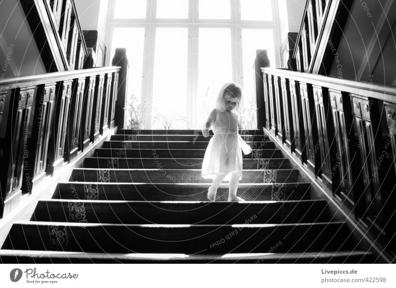 Human being Child Beautiful White Black Window Warmth Feminine Wood Bright Going Body Stairs Elegant Clothing Esthetic