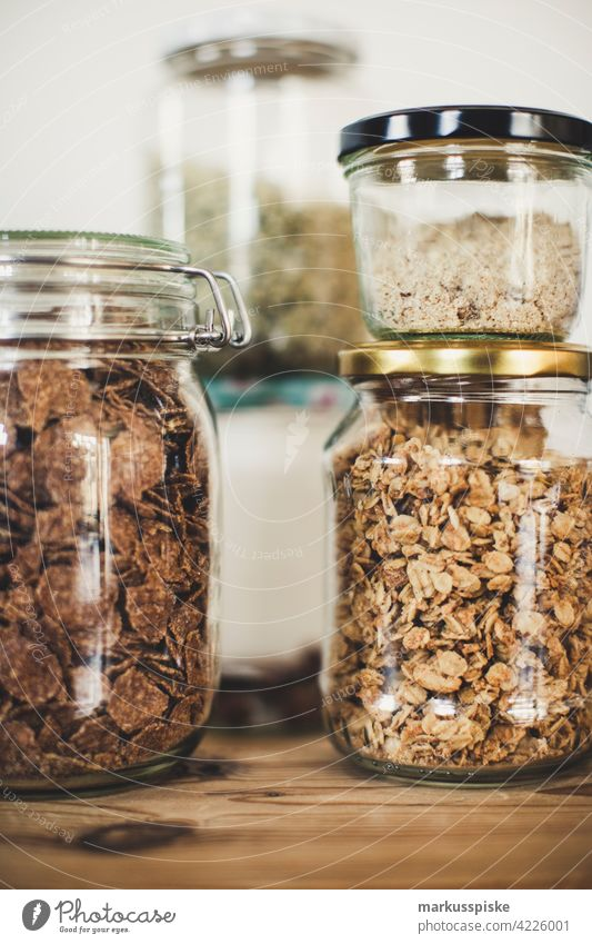 cereals and muesli in glass without packaging - zero waste lifestyle berry bowl breakfast cashew choco chocolate cob corn diet dinner dried fit fitness flake