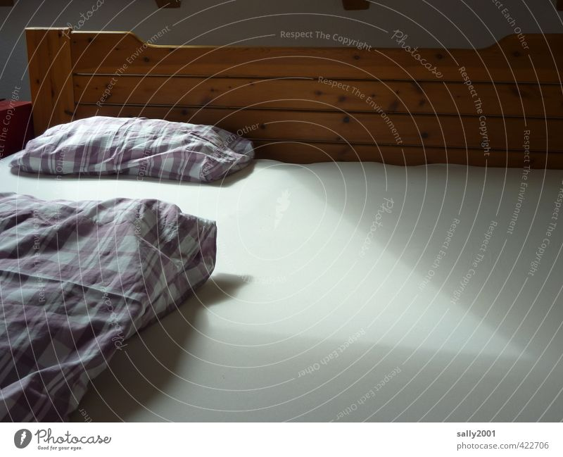 Lonely... Living or residing Flat (apartment) Bed Bedclothes Duvet Sheet Pillow Lie Sleep Calm Sadness Disappointment Loneliness Fear Relaxation Hope Uniqueness