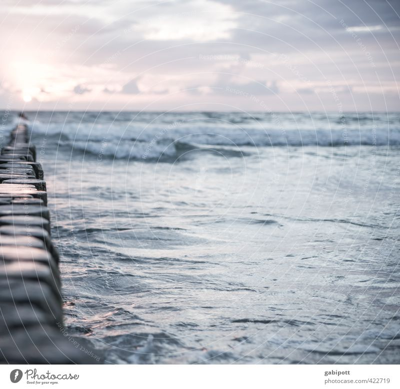 Listening to wave noise Nature Landscape Elements Water Sky Horizon Sunrise Sunset Summer Coast Baltic Sea Ocean Infinity Natural Relaxation Vacation & Travel