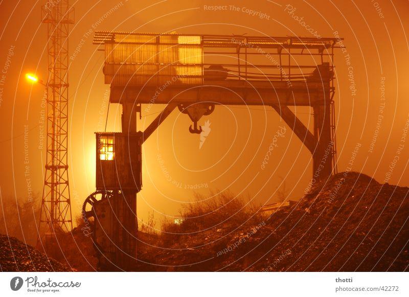 Fog Railroad Industry Logistics Train station Crane Floodlight Goods Consign
