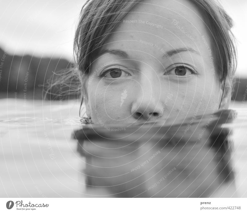 Still water 1 Human being Feminine Young woman Youth (Young adults) Woman Adults Head 18 - 30 years Environment Nature Water Lake Swimming & Bathing Gray Calm