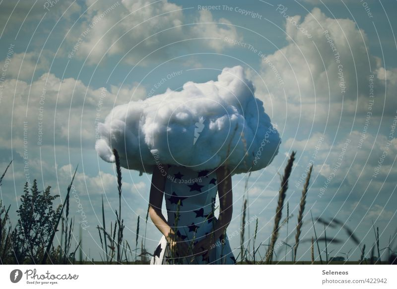 Human being Woman Sky Nature Summer Landscape Clouds Adults Environment Feminine Grass Dream Longing Whimsical Surrealism