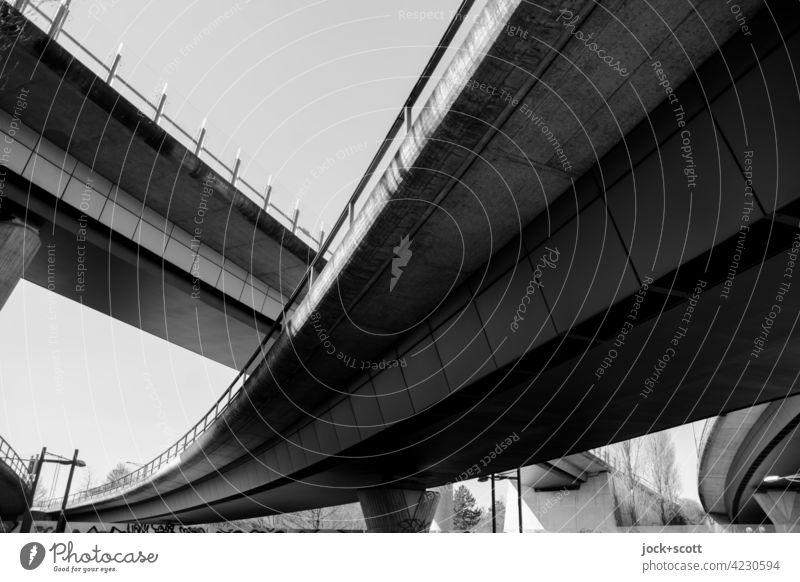 Urban motorway criss-cross Bridge Cloudless sky Bridge construction Architecture Traffic infrastructure Contrast Manmade structures Highway