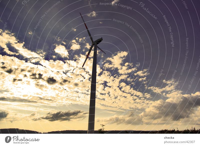 wind power Wind energy plant Clouds Electrical equipment Technology Energy industry Sky