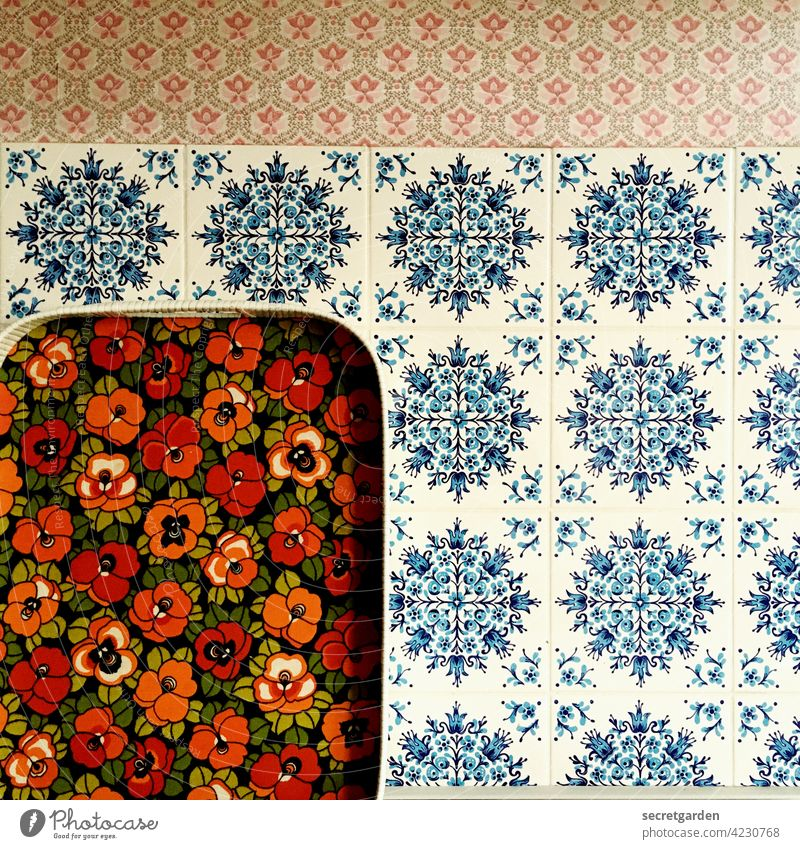 Maybe a change of scenery after all....? oldscool Pattern mix pattern mix Tile Tray 1960s vintage Retro Deserted Old Interior shot Wall (building)