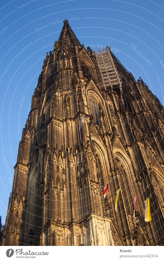 D'r Dom in Kölle Colour photo Exterior shot Day Twilight Light Shadow Contrast Back Church Dome Tower Facade Tourist Attraction Landmark Religion and faith