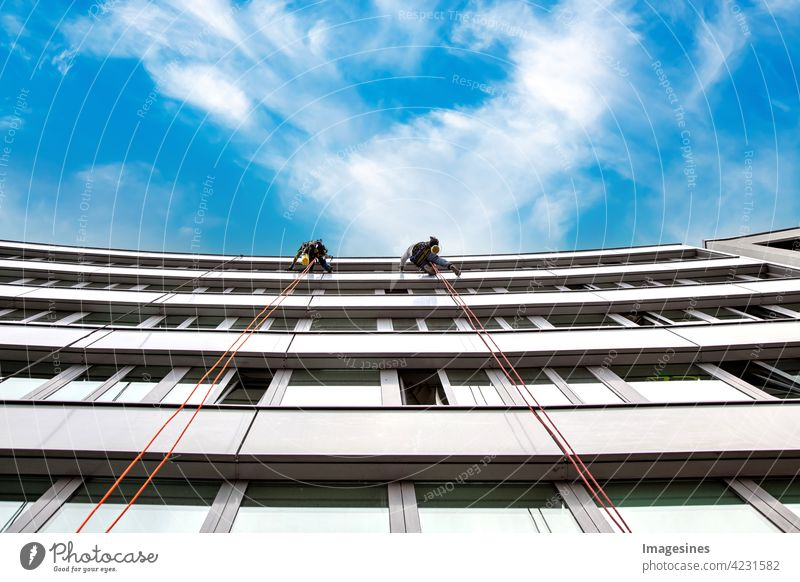 Window washers! Two male industrial climbers cleaning windows on a building. high in the air against blue cloudy sky window cleaner two masculine Industrial