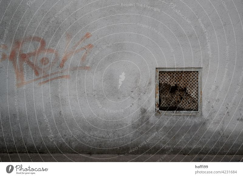Fragile ventilation grille with grafitto Ventilation shaft Crack & Rip & Tear Grafitto Dirty gloomy atmosphere somber Dark Wall (barrier) Facade dreariness