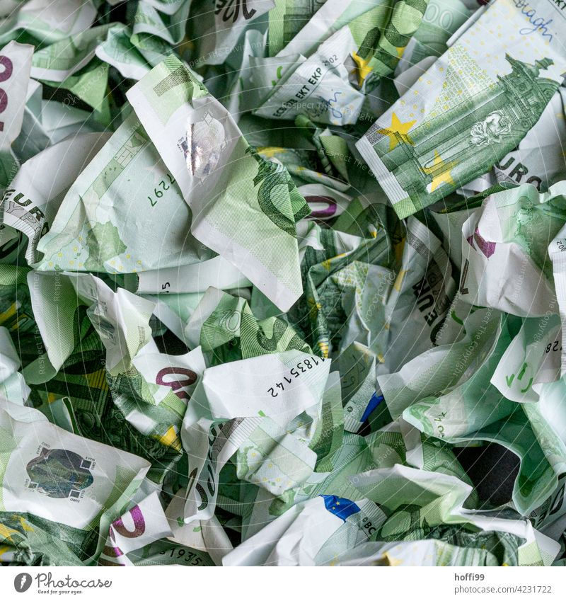 crumpled money - all 100 Euro notes Money Bank note crumpled up Loose change Banknote Financial Industry Paying Income finance Euro symbol Success Many Rich