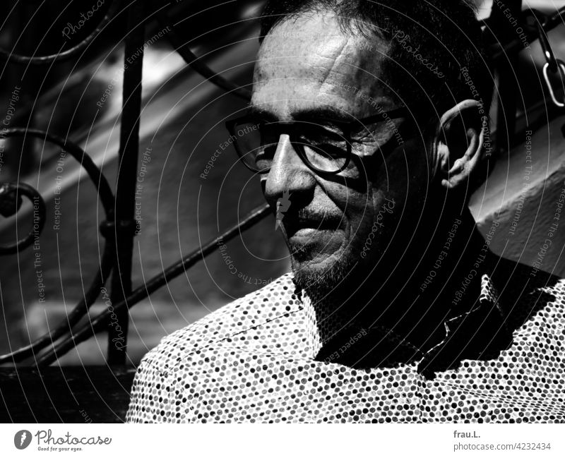 An old man in the sunlight Spring Face Man Eyeglasses portrait sunshine Shirt Stairs
