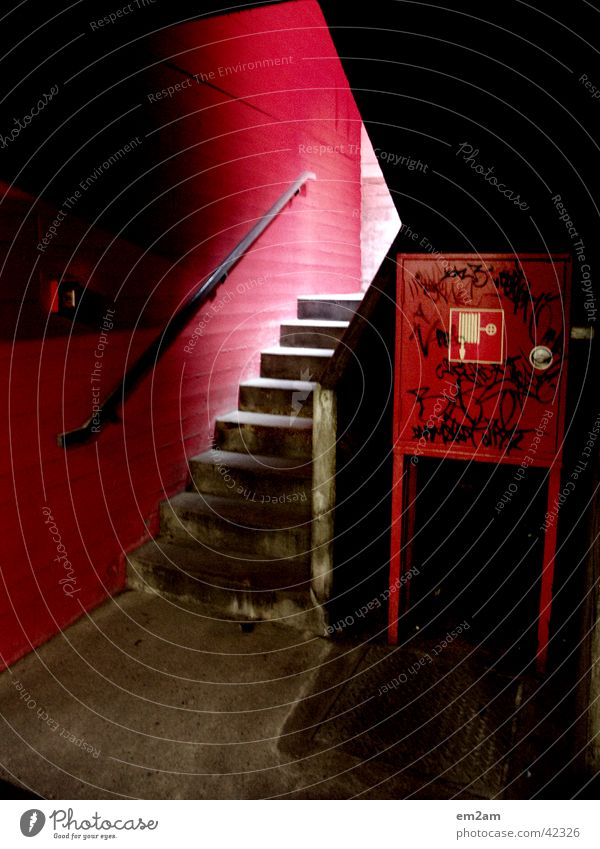 one way in red Red Triangle Alternative Graffiti Architecture light fire extinguisher Stairs rail Perspective