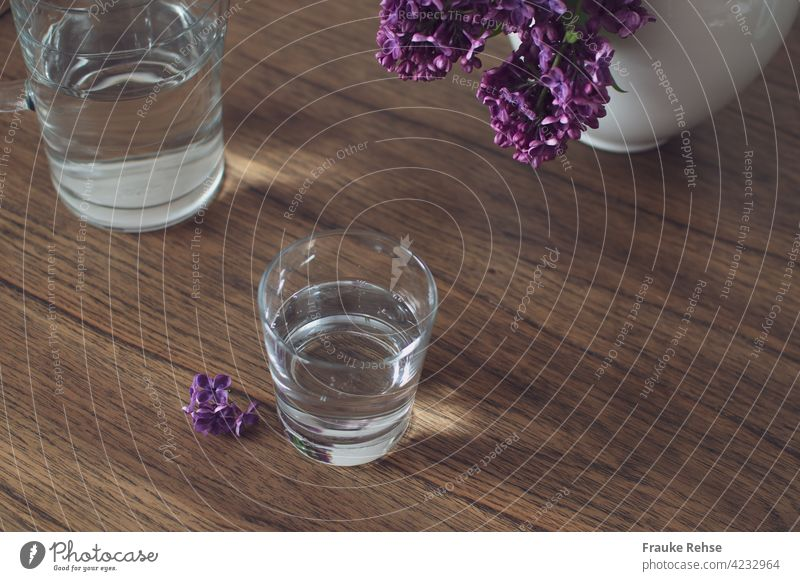 Glass and glass carafe with water on a wooden table with lilac in the vase Tumbler Glass carafe Carafe Water Drinking Thirst Refreshment Healthy Fresh Cold