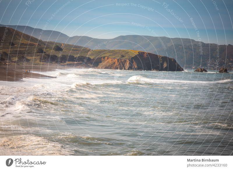 Pacifica beach and coastline in California america bay bay area beautiful blue california cloudy county destination fog grey landscape mist mori point nature