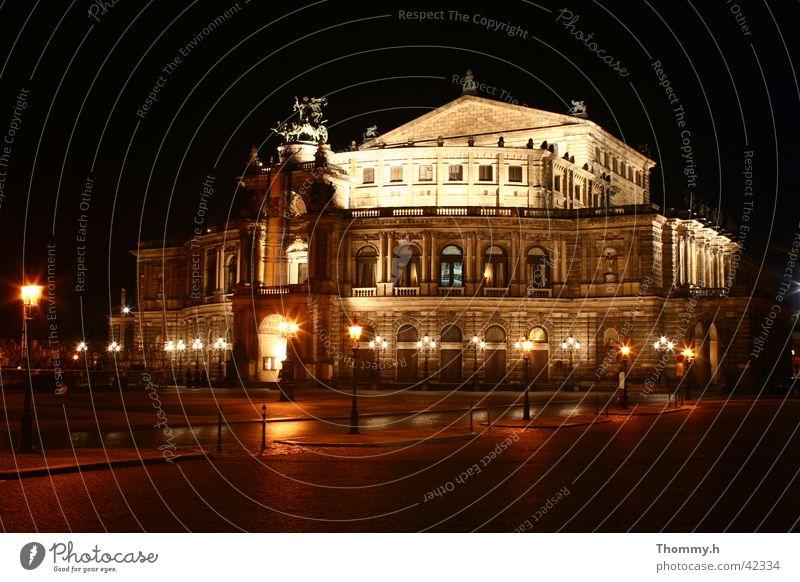 Semperoper Dresden at night Semper Opera Night Light Architecture street lamps