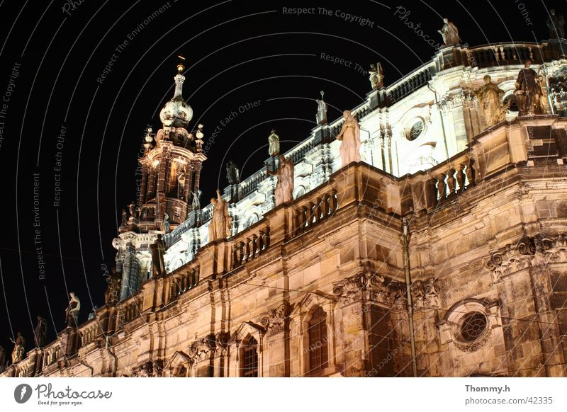 Dresden Castle Church at night Hofkirche Night Light Architecture