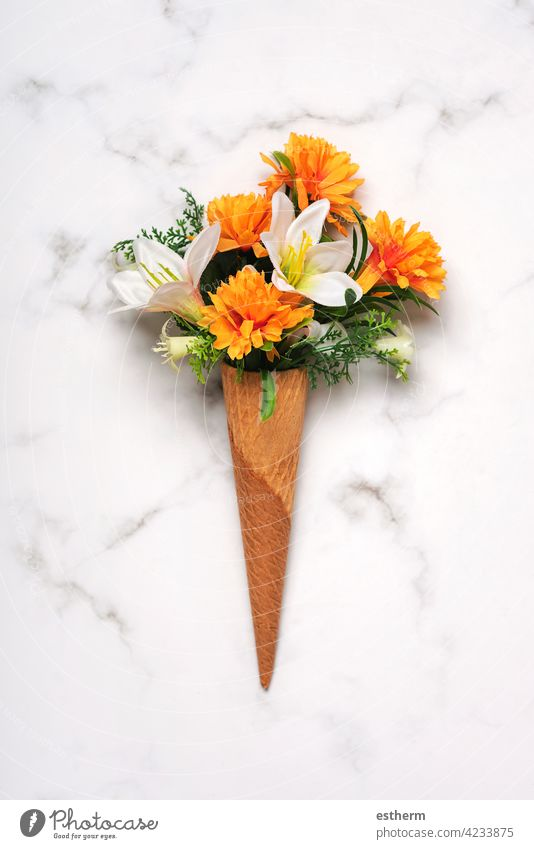 ice cream cone with flowers springtime sweet leaves copy space green flora romance Mother's Day above plant summer florist gift flourish mommy mother abstract