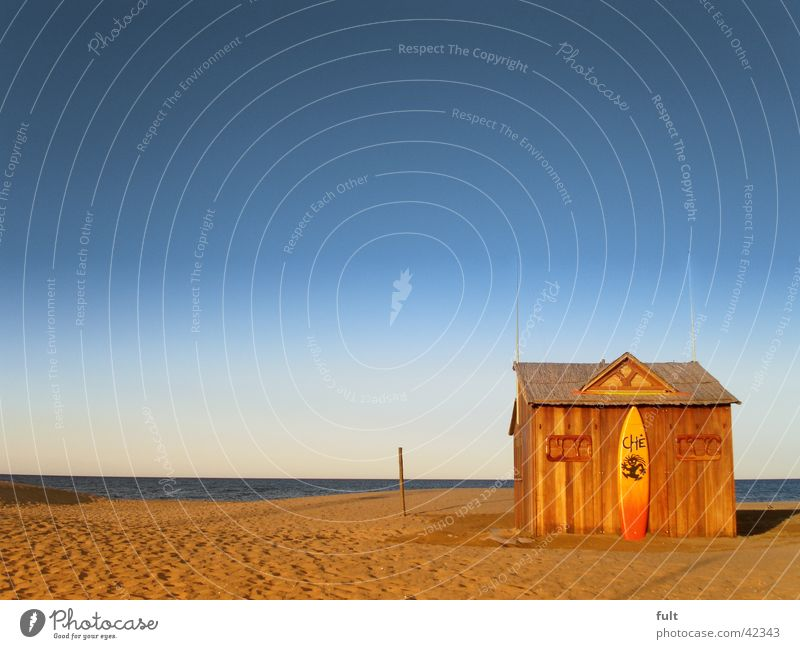beach hut Ocean Surfboard Wood Horizon House (Residential Structure) Beach Waves Spain Sky blue Vacation & Travel Beige Forget Dream Far-off places