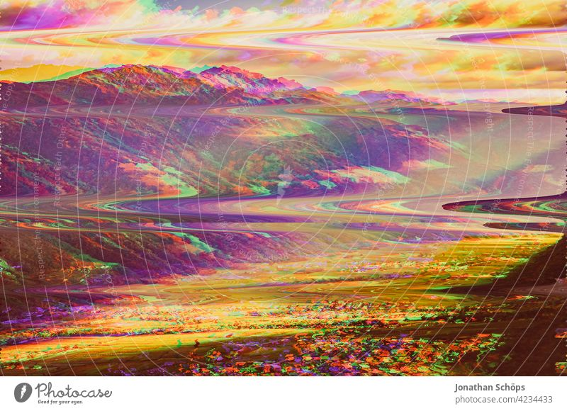 South Tyrol mountains landscape glitch effect Nature Landscape Exterior shot Deserted Environment Colour photo Environmental protection Sustainability Anaglyph
